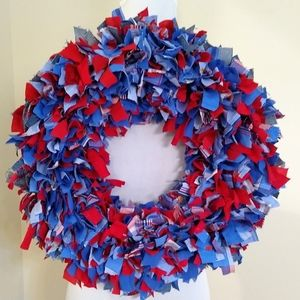 Hand crafted upcycled rag wreath, ode to America